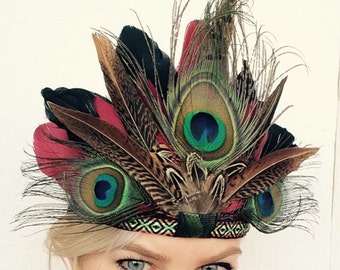 ALICE - Handmade Bohemian Headdress, Feather Headpiece, Feather Headband, Ibiza, Burning man, Festival Accessories, Tribal, Native American
