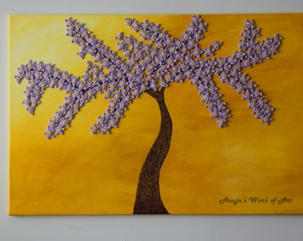 """Mixed Media artwork, Cherry blosoom tree painting in sun, abstract tree painting, acrylic painting, wall art, home decor on 30""""x 40"""" canvas."""