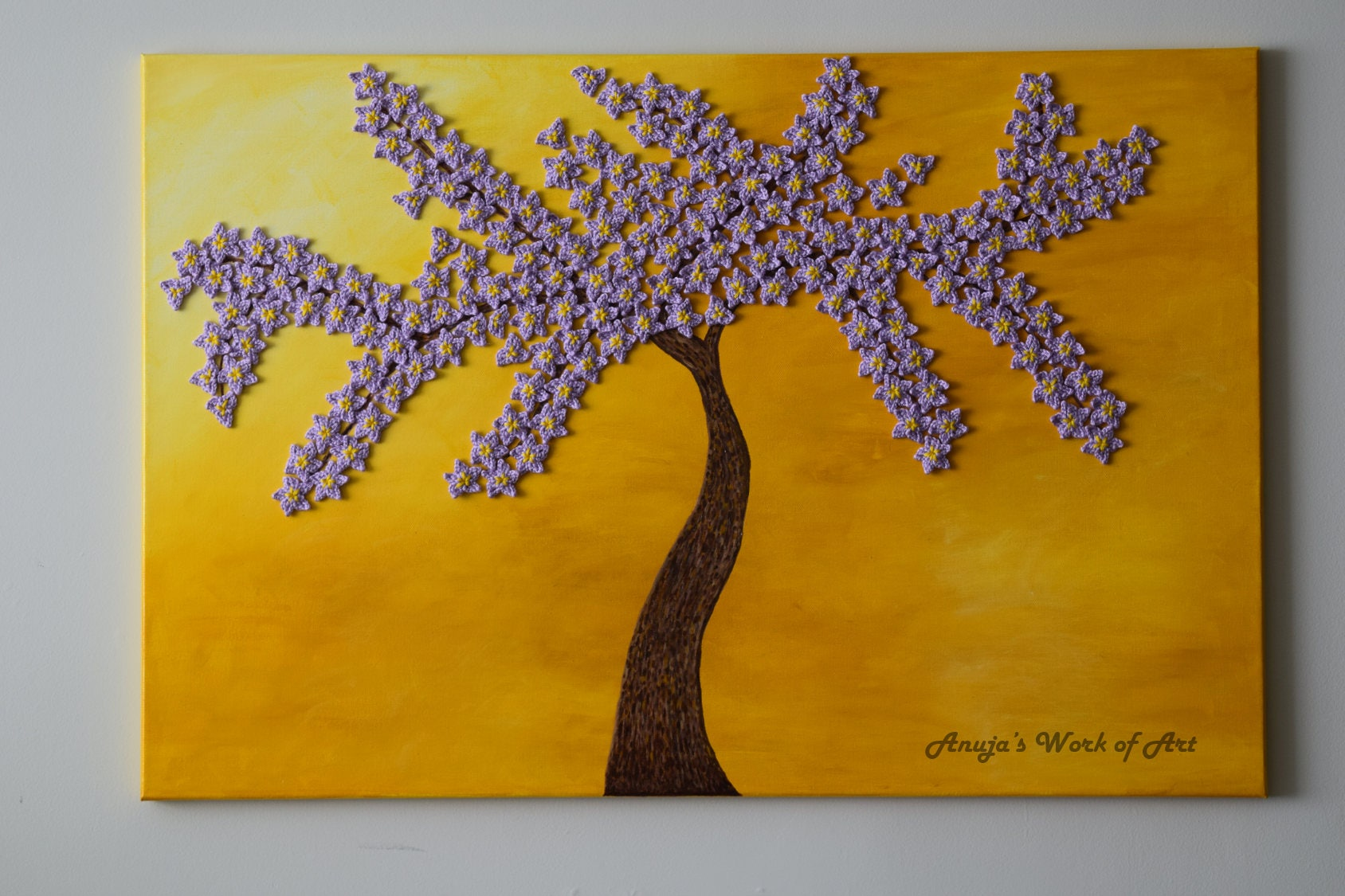 Mixed Media artwork Cherry blosoom tree painting in sun