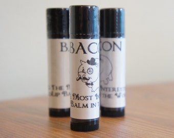 BACON NATURAL Beeswax Lip Balm! Homemade. MANLY -The Most Interesting Lip Balm in the World. Easter Basket Gift