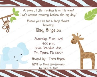 10 Boy Baby Shower Monkey Jungle Invitations with Envelopes.  Free Return Address Labels