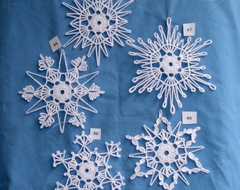 PDF Patterns for 5 Crocheted Snowflakes - set 10