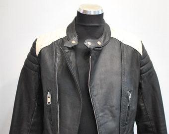 Vintage MEN'S LEATHER BIKER jacket , motorcycle leather jacket.............(697)