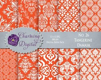 Orange Damask Digital Paper, Orange Scrapbooking Digital Paper, No. 26 Tangerine Tango