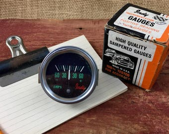 Vintage New Old Stock Indy Automotive Dampened Ammeter Gauge Made In USA Steampunk Industrial Electrical Decor Mid Century Hot Rod Rat Rod
