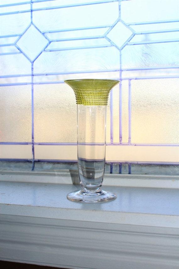 Vintage Art Deco Glass Vase Spiral Top Trumpet Vase Art Glass