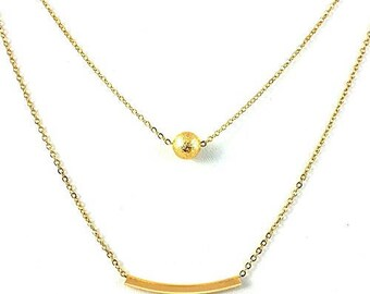 "Cate & Chloe Brianna ""Strong"" Layered Gold Necklace"