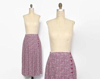 Vintage 70s Lavender SKIRT / 1970s High Waist Paisley Pleated Silky Midi Skirt