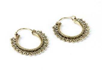 Small Indian Hoops Brass Earrings Tribal Earrings Boho Festival Jewelry Bohemian Earrings Free UK Delivery Gift Boxed BG3