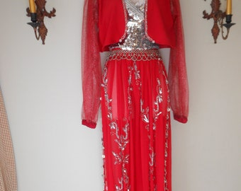 Ornate Belly Dancer Harem Girl Genie Red and Silver XSmall Small Woman Halloween Mardi Gras Costume