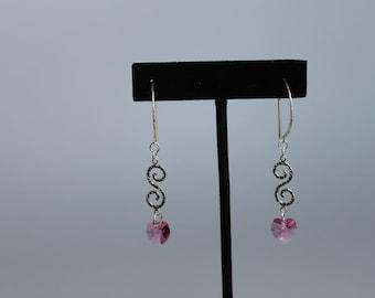 Pink Heart Earrings, Sterling Silver and Swarovski Indian Pink Crystal Heart Earrings