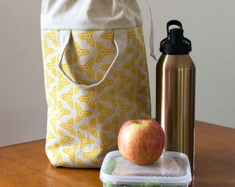 Yellow insulated lunch tote for women. Handmade reusable lunch bag, lunch box bag, zero waste tote bag. Gifts for her or new mom gift.