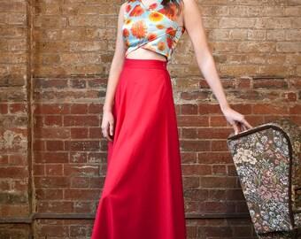 Red Poplin High Waist Long Skirt