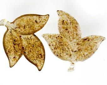 50mm acacia leaf in brown flakes 1Pcs (SK0755_50mm_P4349)
