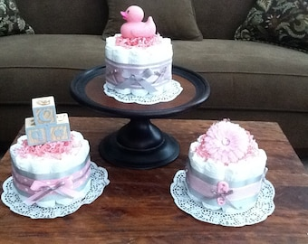 Pink and Grey Baby Shower Centerpieces Bundt Size Diaper cakes other sizes and colors too