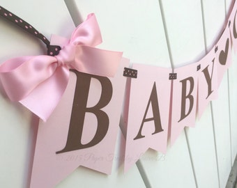 Baby Girl Banner in Pink and Brown.  Baby Shower Decor.  Pregnancy Photo Shoot.  Baby Announcement.