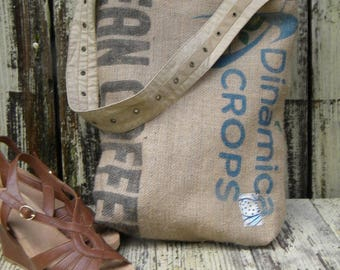 Recycled Burlap coffee Bag tote. shoulder bag coffee purse. Coffee market bag. Coffee beach bag.Coffee dorm bag.coffee diaper bag.traveler