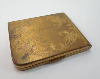 Vintage Mirror Powder Compact Elgin American Made In USA Gold Tone Metal Engraved Flowers Powder Puff Rectangular Shape 3 By 2 1/4 Inches