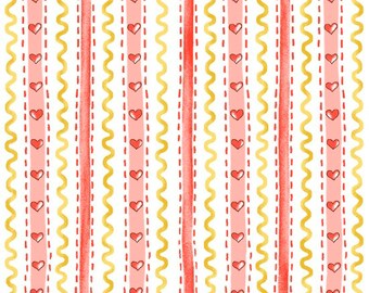 Country Cuisine-Wallpaper Stripe Pink-From Henry Glass-Cotton Fabric-Country-*Sold by the Half Yard