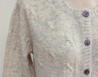 Vintage pure wool ivory color cardigan sweater, Tog Shop preppy beige flecked classic cardigan sweater, natural tones cabled wool cardigan M