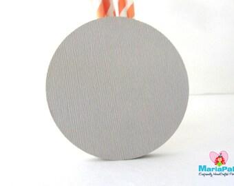 24 Circle Die Cuts. Light Grey, Regular Circle, Die cut (3.0 Inches) Textured Cardstock A1107