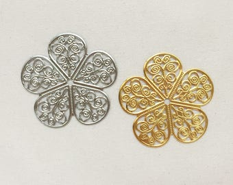 10 pcs Metal Filigree Charm - Plum Blossom - Gold & Silver Toned - Assorted - Destash