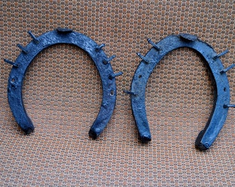 Pair of Antique Handcrafted Horseshoes with Attacher Spikes