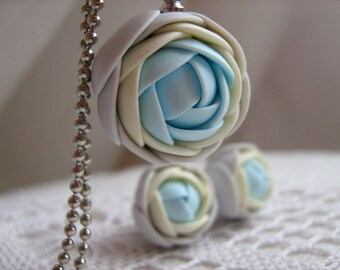 Polymer clay jewelry set - Light pastel grey, yellow, blue rose flower pendant with stainless steel ball chain and stud earrings