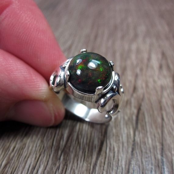 Natural Ethiopian Opal Mens Ring Best Mens Jewelry Christmas