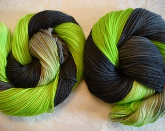 100G DK, BFL, 231 Yds, Hand Dyed, Color - Elphaba, from Wicked