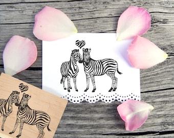 Zebra Rubber Stamp Valentine's Day Wedding -  Handmade by Blossom Stamps