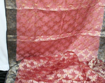 Vintage Embroidered Silk Sari