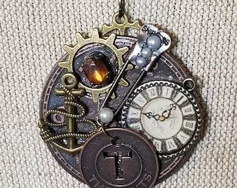 Bronze Jewelry/Cyberpunk Jewelry/Steampunk Jewelry/Bronze Charms/Clockworks and Gears/Steampunk Charms/Victoriana Jewelry/Charm Necklace
