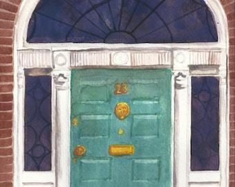 Watercolor Dublin Georgian Door #3 Print 5 x 7