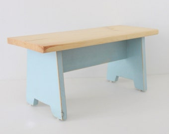 Natural and Light blue Rustic Step Stool, Foot Stool, Farm Stool, Milking Stool