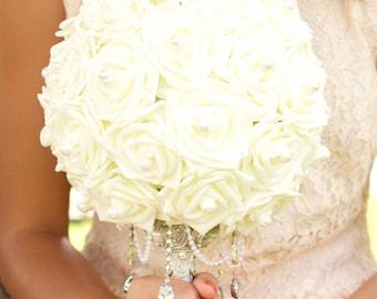 Ivory Rose Glamorous Wedding Bouquet Charm Alternative