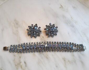 Vintage periwinkle rhinestone bracelet and earrings