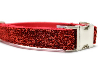 Ruby Red Glitter Dog Collar | 1 inch width ONLY | Your choice of metal buckle or plastic buckle | Glitter Dog Collar| Red Dog Collar
