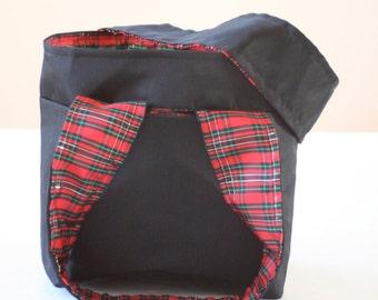 black bag with plaid lining