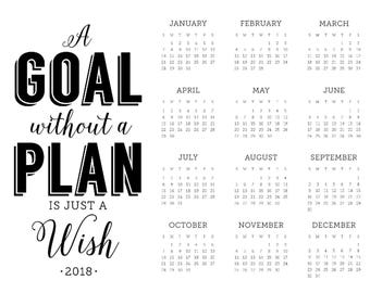 2018 Year at a Glance Goals/Plans Wall Calendar — 11x14 and 8.5x11 DIGITAL DOWNLOAD