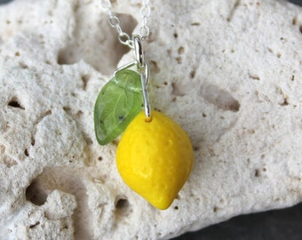 Lemon Grove Necklace -cute bright yellow glass lemon and green glass leaf on sterling silver -Free Shipping USA