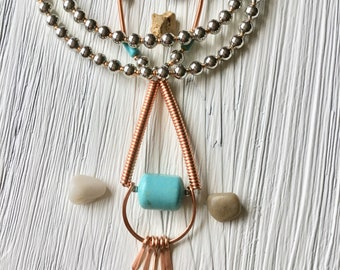 Turquoise and copper necklace,Copper wire necklace,Turquoise jewelry ,Long turquoise necklace, Turquoise pendant necklace for women,