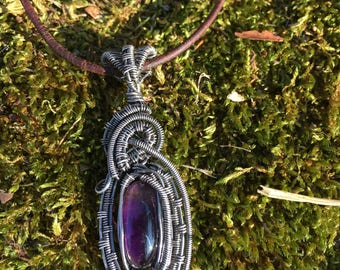 Amethyst Silver Filled Wire Wrapped Pendant  ·