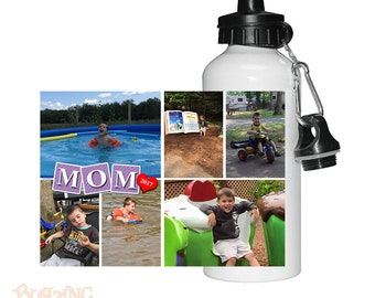 Personalized Mom Block Photo Water Bottle