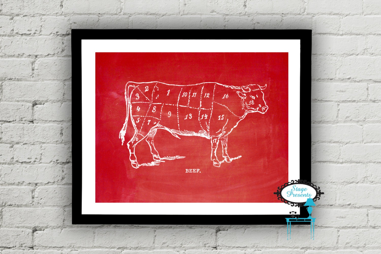 Vintage beef butcher diagram 8x10 meat chart diy wall zoom pooptronica