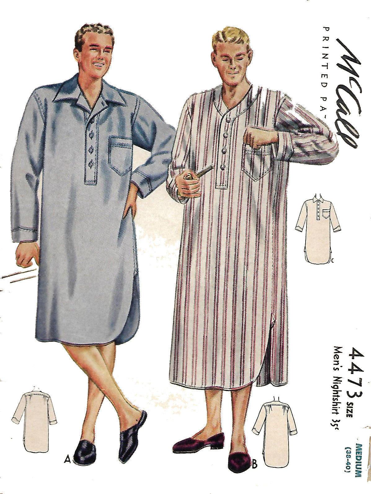 40er Jahre Vintage Schnittmuster Verordnung Herren Nachthemd