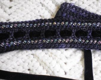 Crocheted Victorian Choker (Necklace) Beaded in PurpleTones