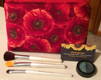 Poppy Cosmetic Bag Zipper Pouch Makeup Bag
