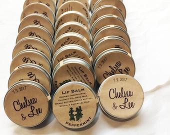 winter wedding mint favors / organic peppermint lip balm / rustic favor mint to be party guest bridal shower / engagement party favors