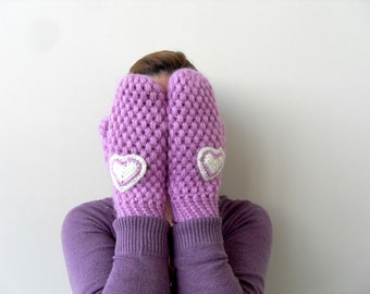Crochet Gloves, Mittens, Gifts for Her, Christmas Gift, Lilac, Purple Gloves, Heart Gloves
